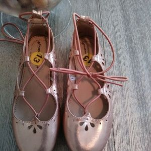 ade58c410a3 🌸Pink 🌹 Metallic Lace Up Ballerina Shoes